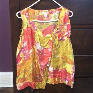 J Crew 100% silk Top with tie on front. Size 12